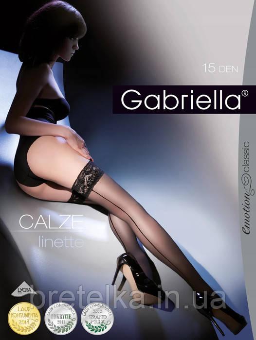 Женские чулки  на силиконе 15 den черный Gabriella
