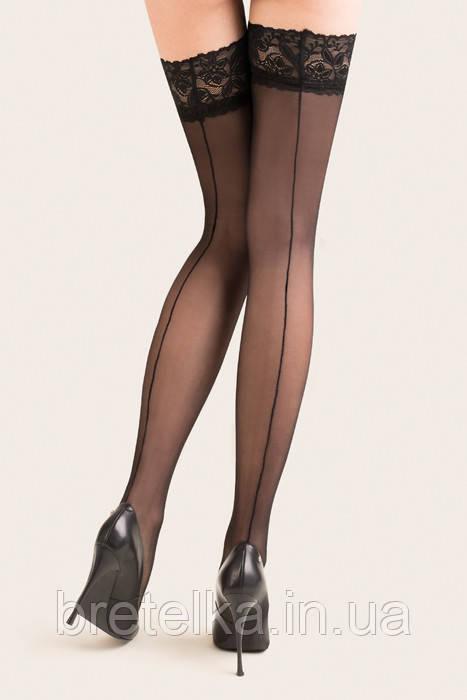 Женские чулки  на силиконе черные со стрелкой 15 den Gabriella Linnete