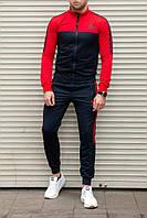 Мужской спортивный костюм adidas без капюшона, темно-синий с красным