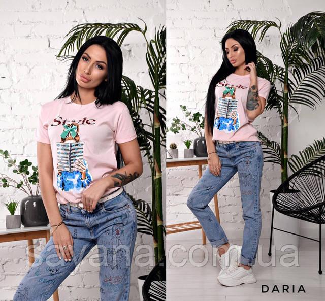женская футболка с декором