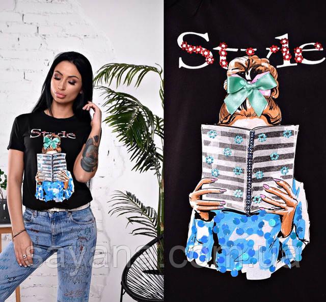 женская футболка с декором оптом