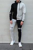 Спортивный мужской костюм двухцветный с капюшоном , трикотаж , серый с черным