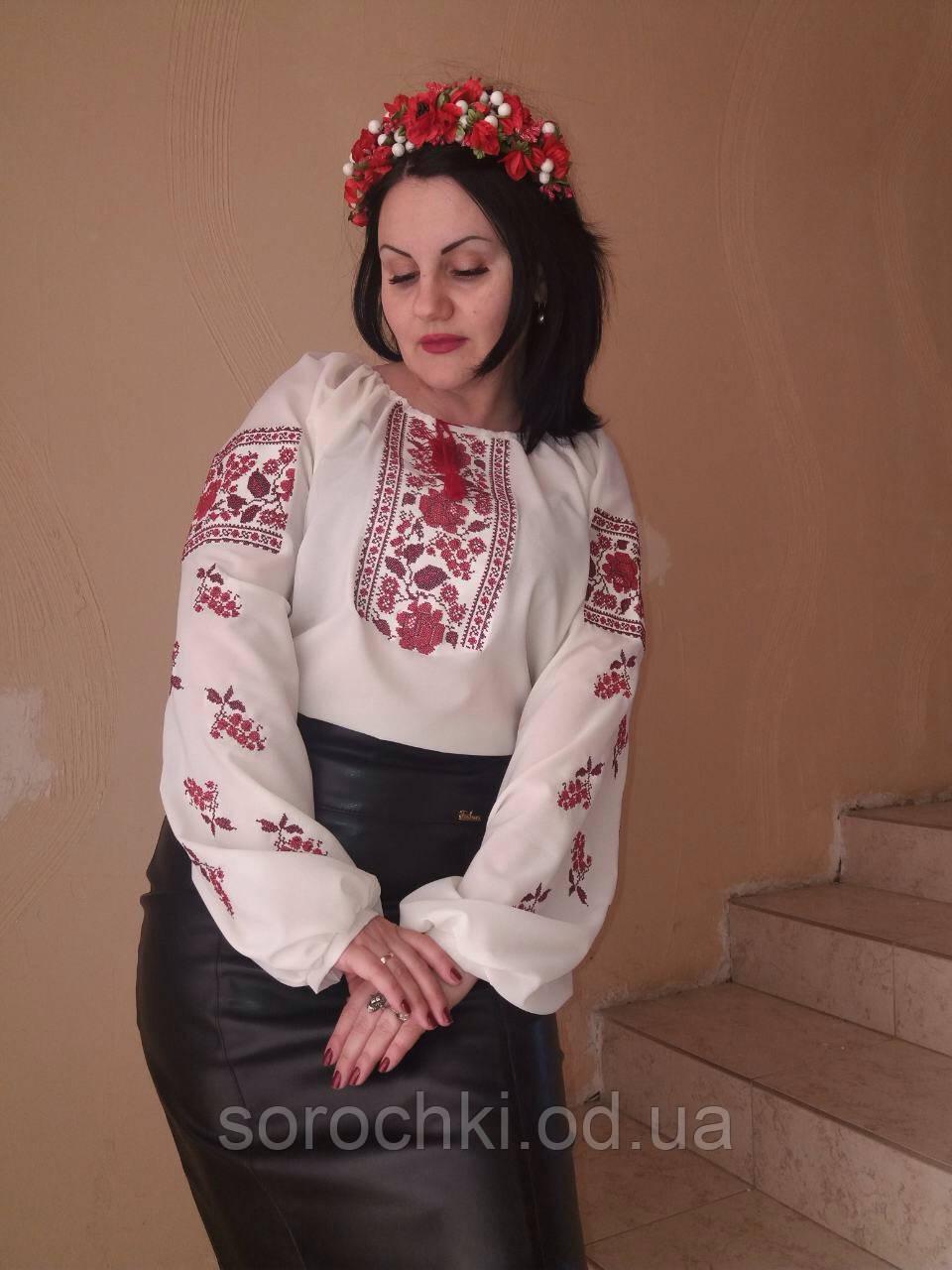 """Вышиванка белая , женская , вышивка, цветы ,  """"маки с виноградом"""" цвет вышивки красный Материал-шифон"""