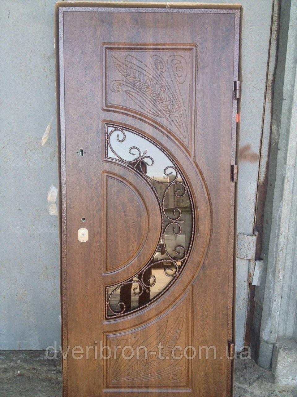 Входная дверь Форт Премиум Греция ковка и стеклопакет дуб темный 960х2050