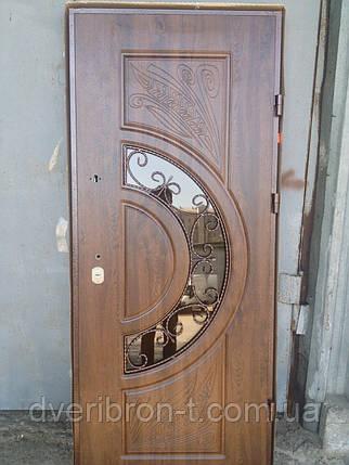 Входная дверь Форт Премиум Греция ковка и стеклопакет дуб темный 960х2050, фото 2