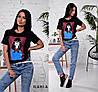 Женская футболка с камнями и пайетками в расцветках, Турция. Ч-11-0319, фото 2