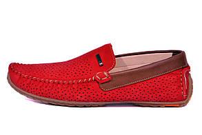 Летние мужские мокасины красные | замшевые перфорированные