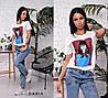 Женская футболка с камнями и пайетками в расцветках, Турция. Ч-11-0319, фото 3