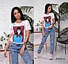 Женская футболка с камнями и пайетками в расцветках, Турция. Ч-11-0319, фото 4