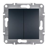 Переключатель двухклавишный Самозажимные контакты Антрацит Schneider Asfora plus (EPH0600171), фото 1