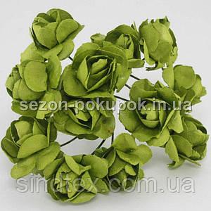 Роза бумажная 1.5см (букет 12 шт). Цвет - ЗЕЛЕНЫЙ
