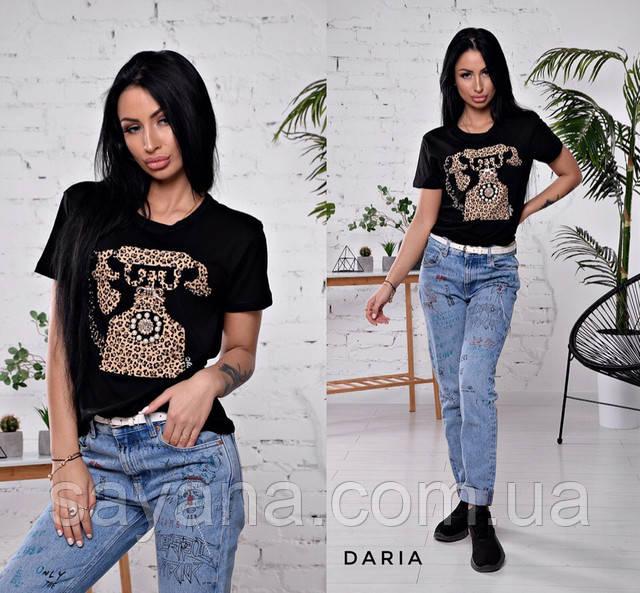 женская футболка с бусинами опт