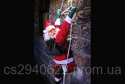 Новогодняя Игрушка Подвесной Santa Claus Декор для Дома Санта Клаус с Мешком Лезет по Лестнице 35 см