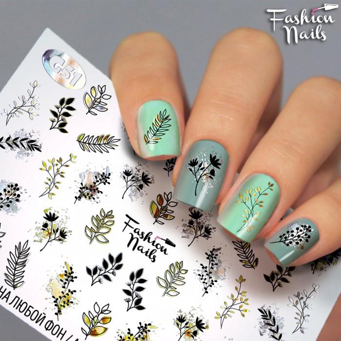 Слайдер-дизайн Fashion nails - наклейка на нігті - гілочки