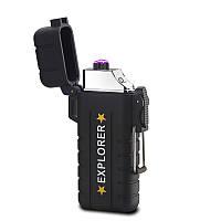 Вологозахищена електроімпульсна запальничка SUNROZ DK-8039 Explorer акумуляторна USB Чорний (SUN3811)