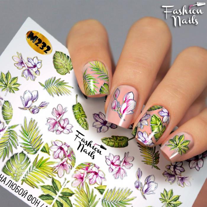 Слайдер-дизайн Fashion nails - наклейка на ногти - цветочки , листики