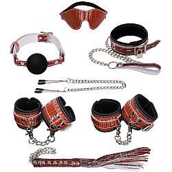 НАБОР (маска, ошейник, кляп, зажимы д/сосков, наручники, оковы, плеть) экокожа, цвет коричневый
