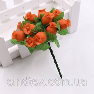 """Цветок """"Бутон розы"""" (цена за букет из 12 шт). Цвет - оранжевый"""