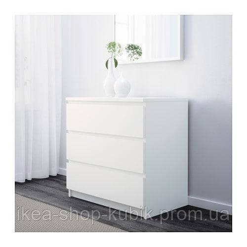 IKEA МАЛЬМ Комод с 3 ящиками, белый, 80x78 см