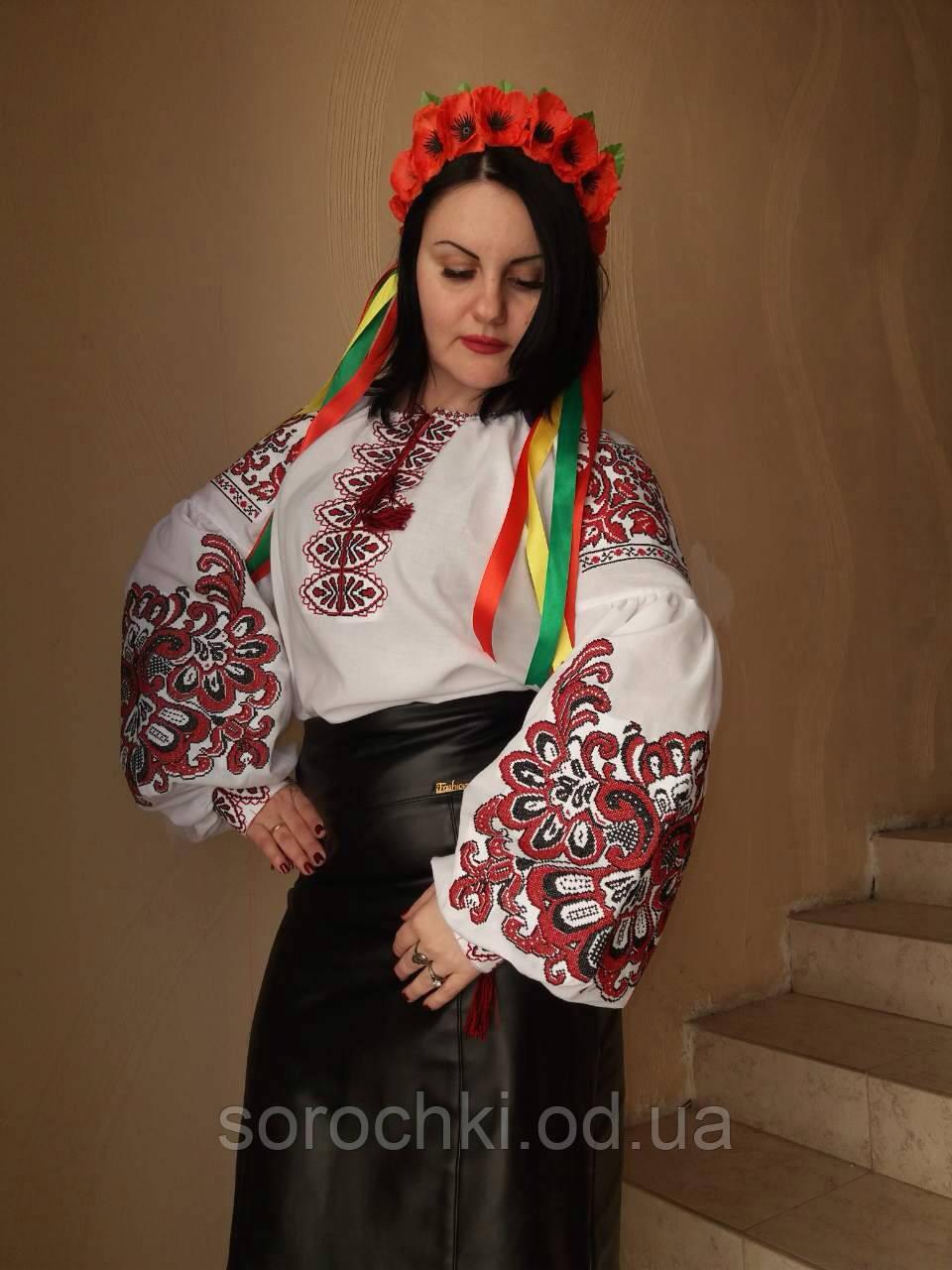"""Вышиванка женская, белая, домотканное полотно, вышивка """" Княжна"""""""