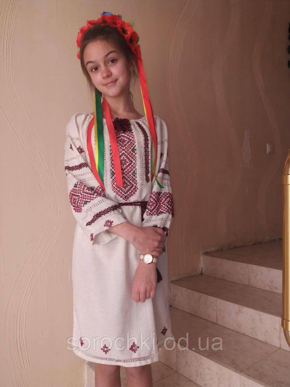 """Вишиванка сукню , жіноче , біла , ручна вишивка на домотканою тканини, орнамент """"Безконечник"""""""