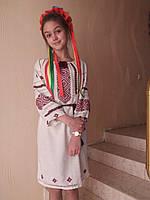 """Вышиванка  платье , женское , белое , ручная вышивка на домотканной ткани, орнамент """" Бесконечник"""""""