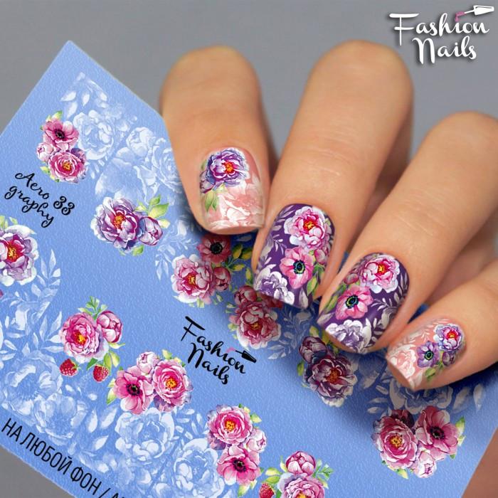 Слайдер-дизайн Fashion nails - наклейка на ногти - цветок роза