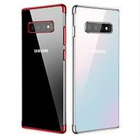Прозрачный силиконовый чехол для Samsung Galaxy S10 Plus G975 2019 с глянцевой окантовкой (5 цветов)