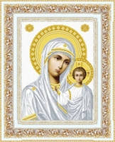 Схема для вышивки бисером Богородица Венчальная (серебро)