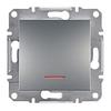 Выключатель одноклавишный с подсветкой самозажимные контакты Сталь Schneider Asfora plus (EPH1400162)