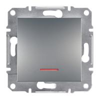 Выключатель одноклавишный с подсветкой самозажимные контакты Сталь Schneider Asfora plus (EPH1400162), фото 1