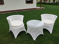 Комплект плетених меблів з білого штучного ротангу