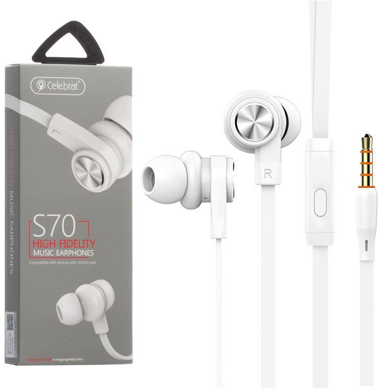 Наушники с микрофоном Celebrat S70 белые
