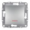 Переключатель одноклавишный с подсветкой самозажимные контакты Алюминий Schneider Asfora plus (EPH1500161)