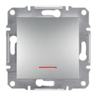 Переключатель одноклавишный с подсветкой самозажимные контакты Алюминий Schneider Asfora plus (EPH1500161), фото 1