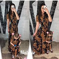 Платье мама и дочка, летнее, длинное платье, ткань креп-шифон на пуговицах с карманами и поясом FAMILY LOOK