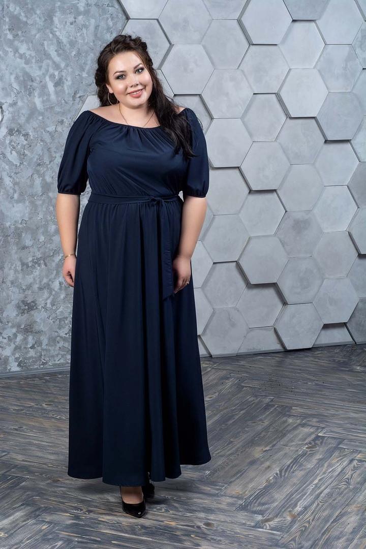 9bf425bd748 Синее легкое платье в пол больших размеров Анфиса - V Mode
