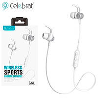 Bluetooth наушники с микрофоном Celebrat A8 бело-серебристые