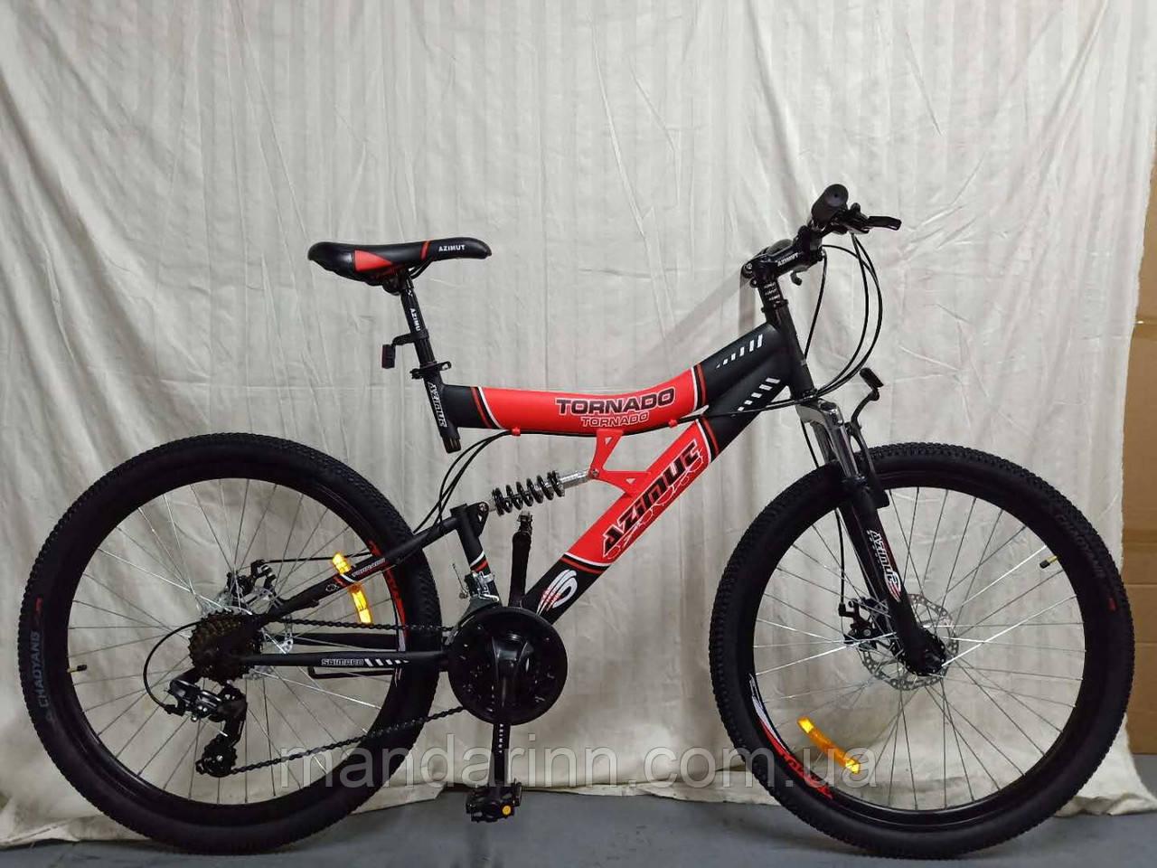 Горный велосипед Azimut Tornado 26 дюймов. Дисковые тормоза. Красно-черный.