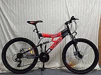 Горный велосипед Azimut Tornado 26 дюймов. Дисковые тормоза. Красно-черный., фото 1