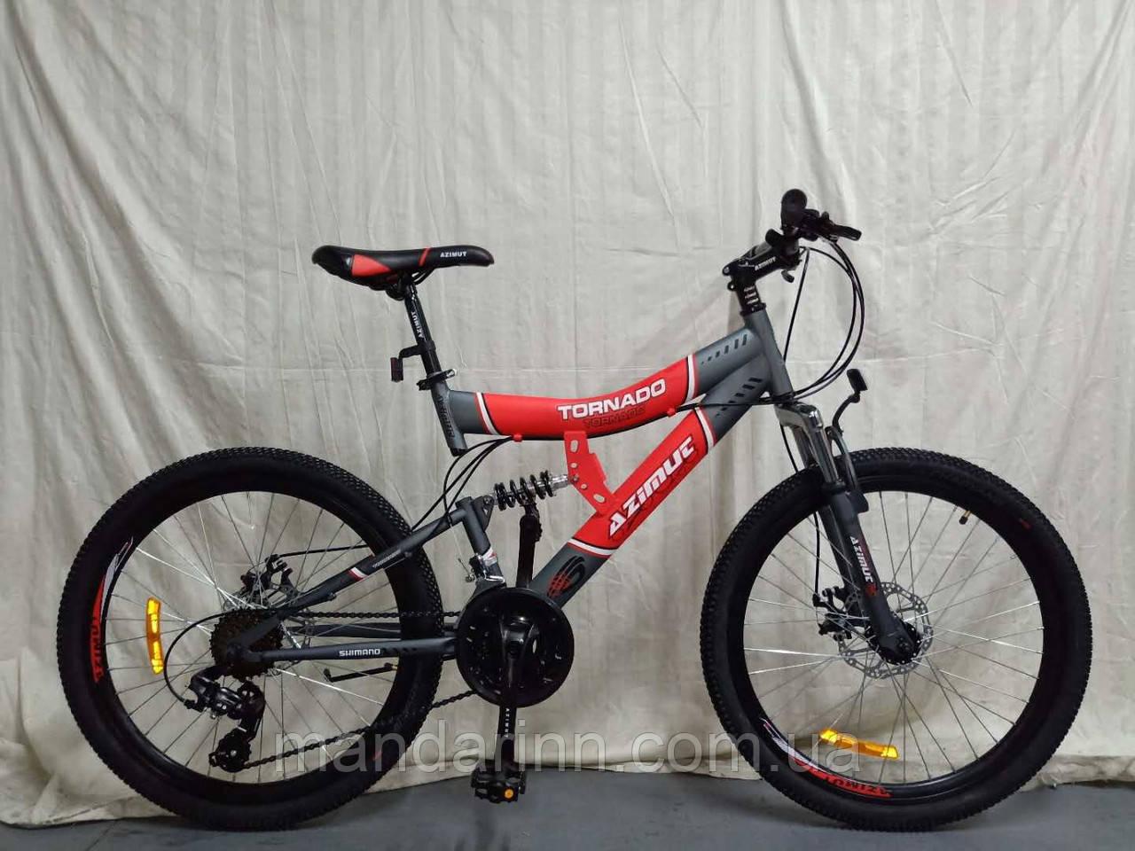 Гірський велосипед Azimut Tornado 26 дюймів. Дискові гальма. Червоно-чорний.