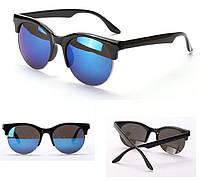 Очки солнцезащитные в ретро стиле - глаза кошечки, оправа ободковая цвет серебро, темно-синие линзы, фото 1