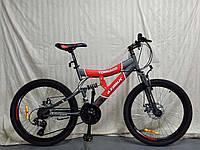 Горный велосипед Azimut Tornado 26 дюймов. Дисковые тормоза. Красно-серый., фото 1