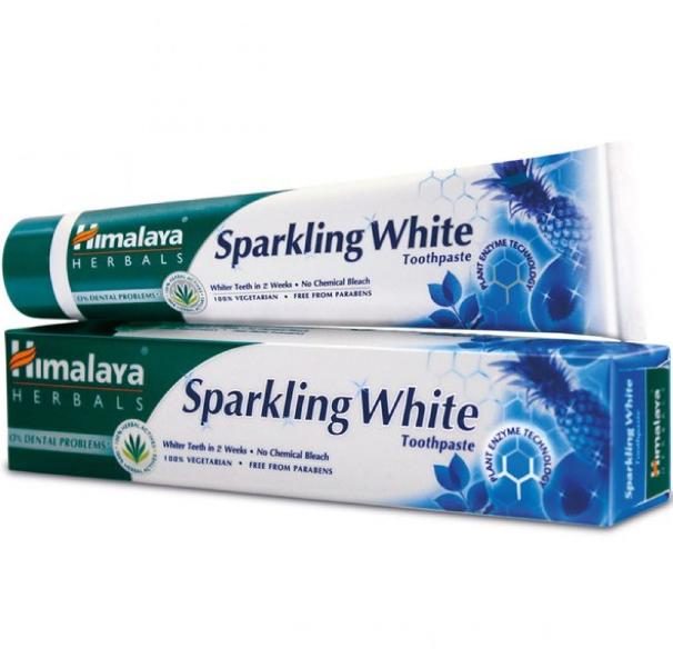 Зубная паста отбеливающая с натуральными травами без фтора Хималая,Himalaya Sparkling White,150 г+зубная щетка