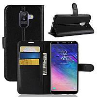 Чехол-книжка Litchie Wallet для Samsung A605 Galaxy A6 Plus 2018 Черный