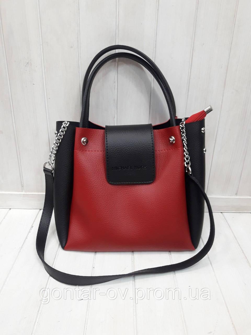 Сумка-шоппер Michael Kors черная с красным