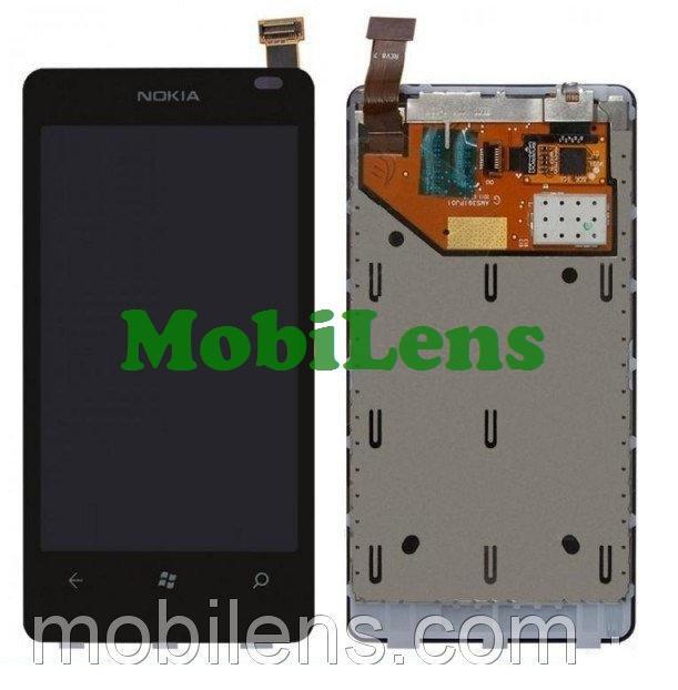 Nokia 800 Lumia Дисплей+тачскрин(модуль) черный *в рамке
