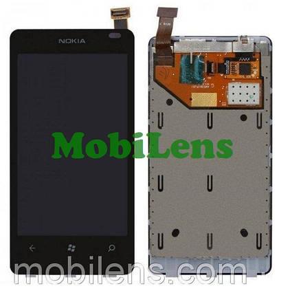 Nokia 800 Lumia Дисплей+тачскрин(модуль) черный *в рамке, фото 2