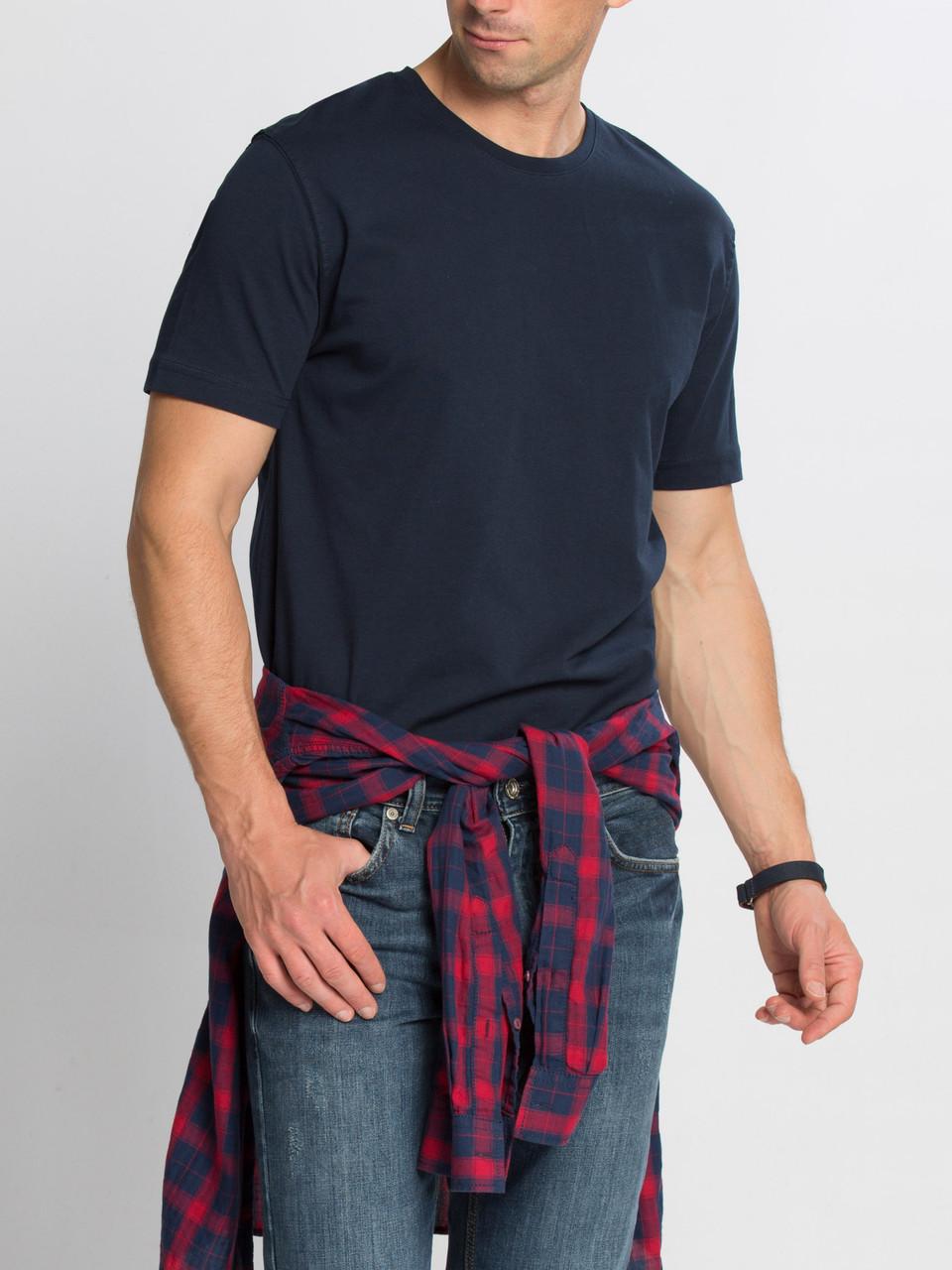 Синяя мужская футболка Lc Waikiki / Лс Вайкики с круглым вырезом