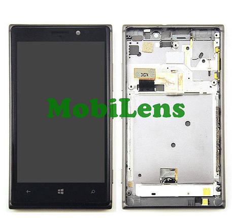 Nokia 925 Lumia Дисплей+тачскрин(модуль) черный в рамке, фото 2
